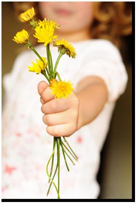 mladá dívka drží květiny