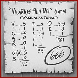666 mark of the beast - vicarius filii dei