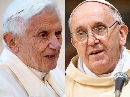El Papa Benedicto XVI (séptimo rey) y Francisco I (octavo rey)