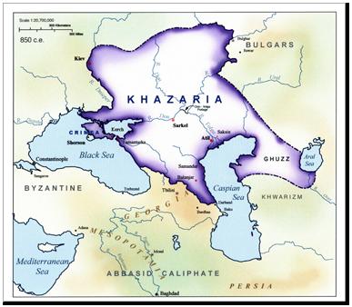 Kerajaan Khazar pada puncak kekuasaannya.