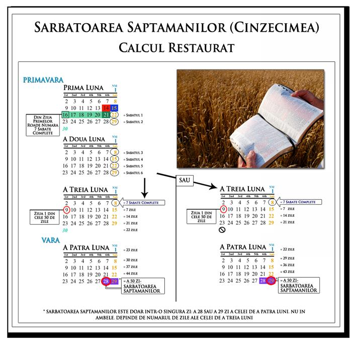 Grafic care arată numărul de Rusalii: 7 lunar Sabate + 50 de zile, de numarare de la Wave snop
