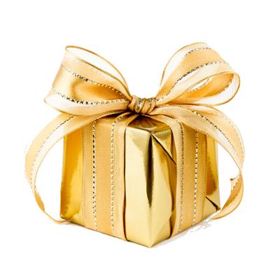 dárek zabalený do zlatých papíru