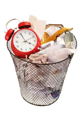 clock in a waste basket