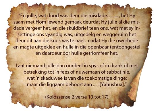Kolossense 2 verse 13 tot 17