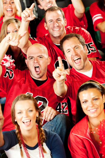 excited fans at a sporting event