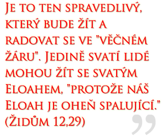 """It is the righteous who will live and rejoice in everlasting burnings.  Only a holy people can live with a holy Eloah, """"For our Eloah is a consuming fire.""""  (Hebrews 12:29)"""