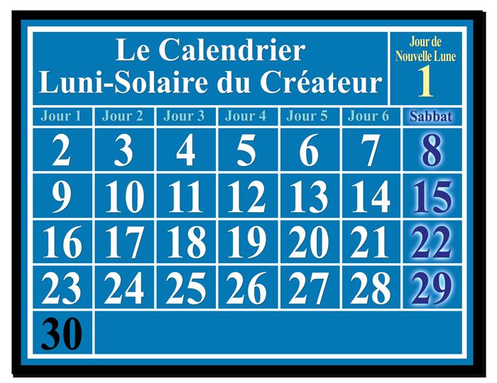 Luni-Solar Calendar showing New Moon Day and Sabbaths