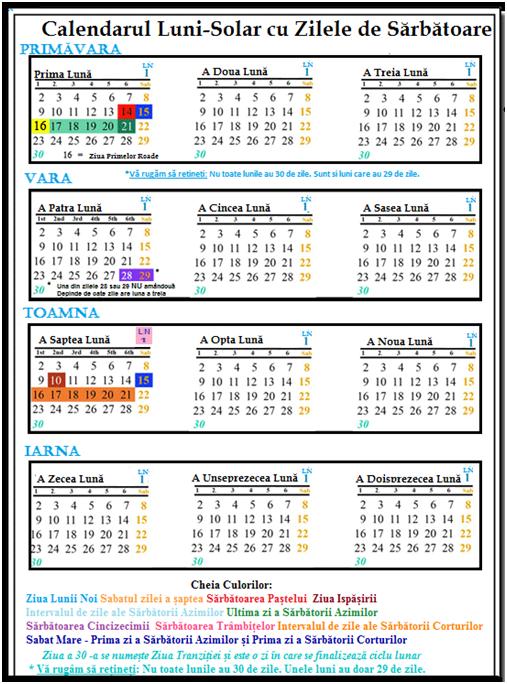 luni-solar calendar with feast days