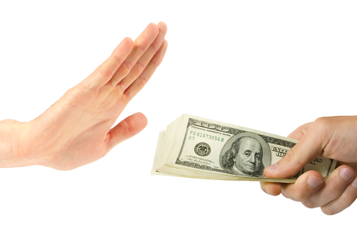 outstretched hand refusing money