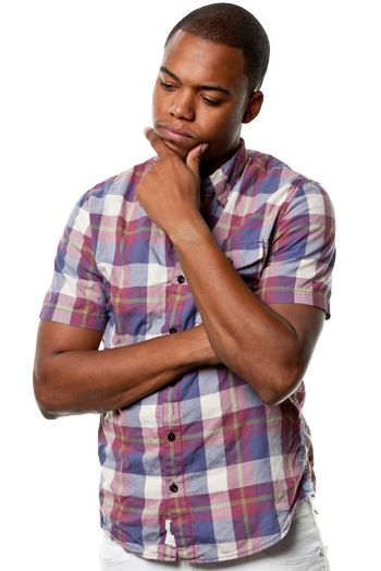 Pensive young African man