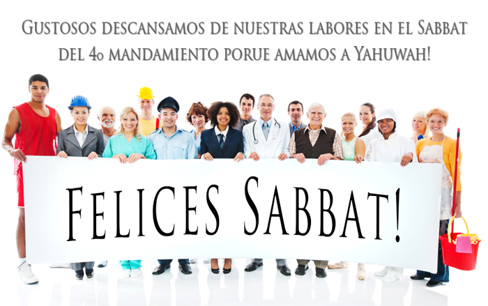 diverse group of people holding a 'Happy Sabbath' banner