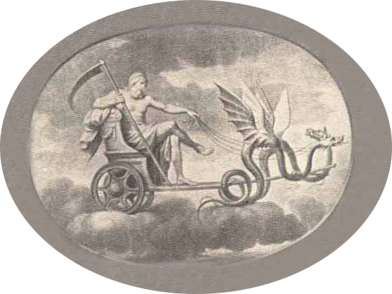 Saturn in flying chariot being pulled by two winged serpents