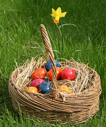 Easter (Ishtar) Eggs in a basket