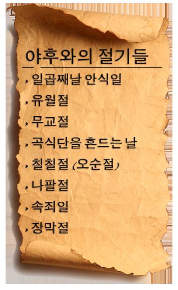 야후와의 절기들 List of Leviticus 23 Feasts
