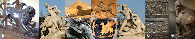 historical depictions of chimeras, giants, and nephilim