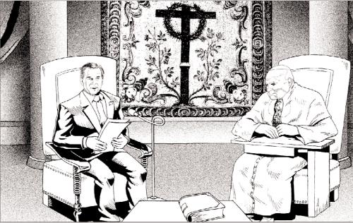 Depiction of John Paul II and U.S. President