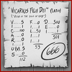 666 - vicarius filii dei