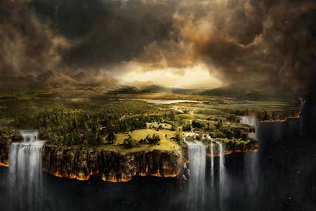 Flache Erde (fehlerhafte Vorstellung davon, wie Sachen über den Rand fallen)