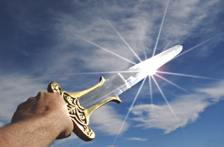 sword bathed in light