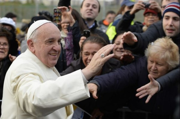 Pope Francis and frantic crowd
