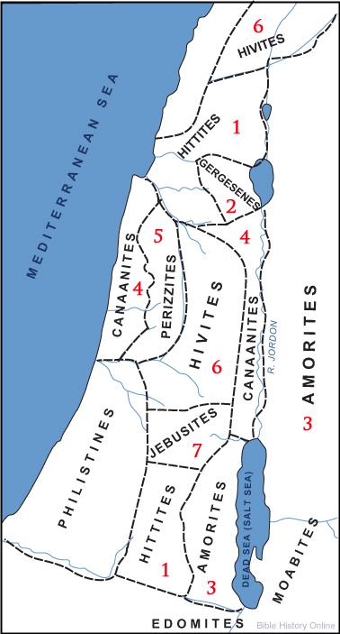 이스라엘 침공 전의 가나안 나라들 (거인 / 네피림)