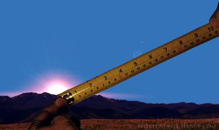 Die meting van die afstand van die hoekigheid van die son en maan met 'n maatband.