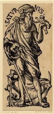 Die Verborgenheid van Babilon – Saturnus word gewys met die houvas van 'n sens en 'n baba. Let op die gevleuelde draak wat sy stert byt en 'n volkome sirkel vorm, die simbool van die son