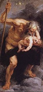 Kronos wat sy seun verober deur Peter Paul Rubens. Let op die sens in Kronos se regterhand. Die Griekse Kronos, en die Romeinse Saturnus is dieselfde god.