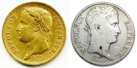 francouzské zlaté a stříbrné mince