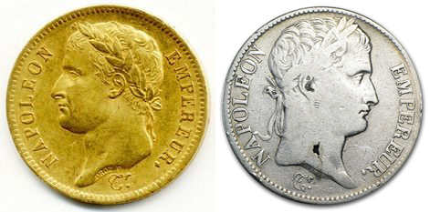 monede franțuzești din aur și argint