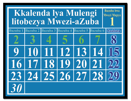Kkalenda litobezya mwezi-azuba, litondezya Nsabata mubuzuba bwa lusele, muli bwakkumi abwasanu,muli bwa makumi obile abwabili,amuli bwa makumi obile afuka kubalila kuzwa kumatalikilo aamwezi