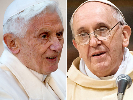 sina Pope Benedict XVI (ikapitong hari) at Pope Francis I (ikawalong hari)