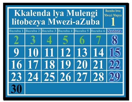 kkalenda litobezya mwezi-azuba, kalitondezya Nsabata muli bwalusele, muli bwakkumi abusanu, muli bwamakumi obile abwabili amuli bwamakumi obile afuka bwa mwezi