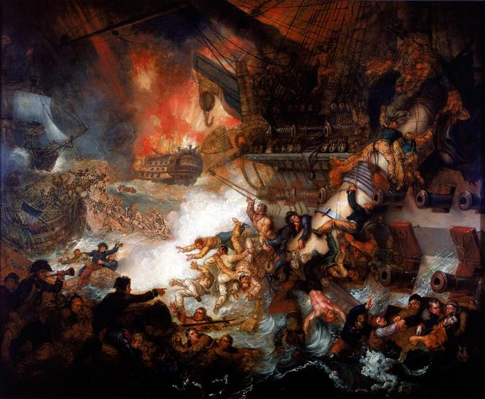 Die Slag van die Nyl: Verwoesting van 'L'Orient', Augustus 1, 1798, Mather Brown, 1825, National Maritime Museum