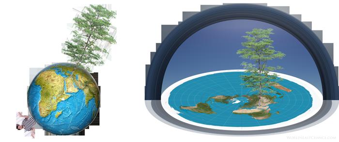 구체와 비교되는 평평한 지구 (다니엘 4장 – 느부가넷살의 꿈)