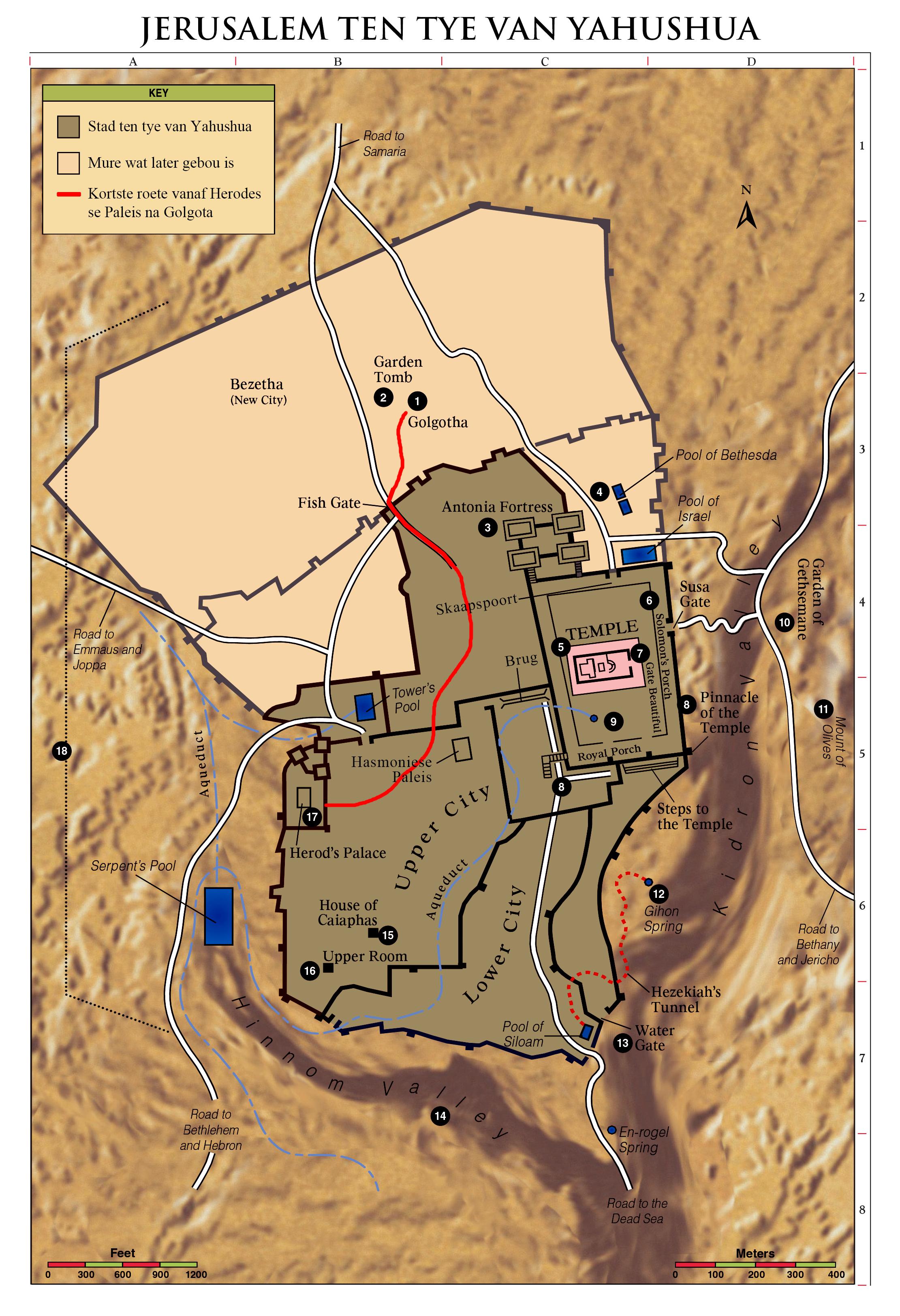 Direkte roete vanaf Herodes se Paleis na Golgota