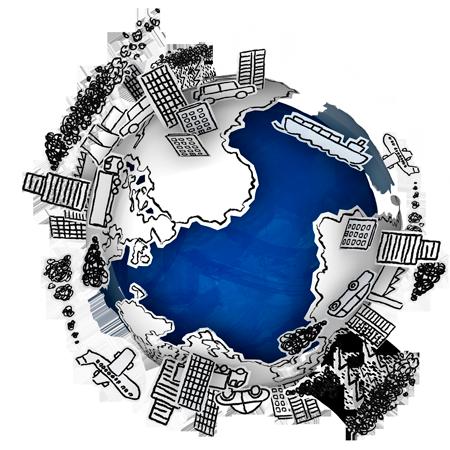 Globe de bande dessinée illustrant l'absurdité de la gravité