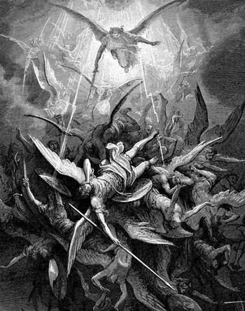 Engel werden aus dem Himmel geworfen