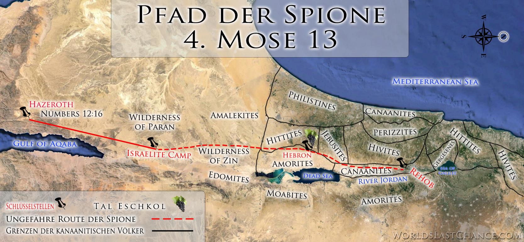 Pfad der Spione, als sie Kanaan auskundschafteten (Land der Nephilim) in 4. Mose 13