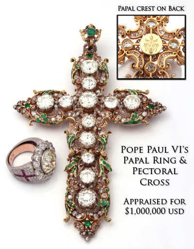 Pope Paul VI's pectoral cross and papal ring