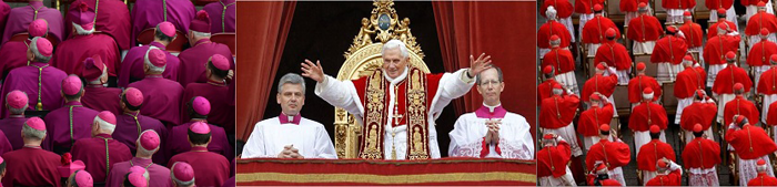 Ang Simbahang Katoliko na nakagayak sa granate at pula