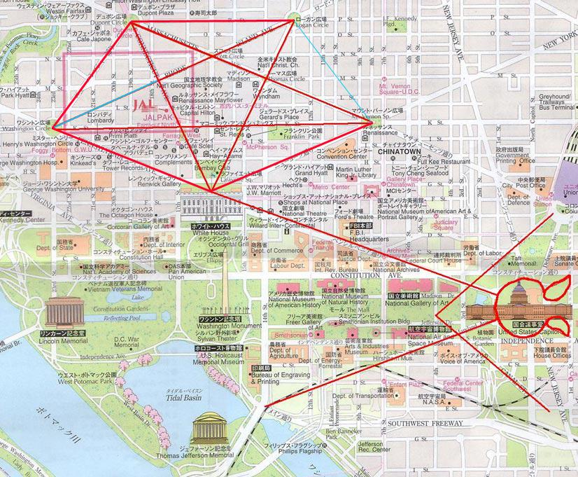 Washington DC- Simboluri Satanice pe harta străzilor și clădirilor