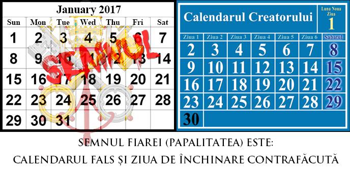 Calendarul Gregorian comparat cu Calendarul Luni-solar; Semnul Fiarei reprezintă Calendarul Contrafăcut al Romei