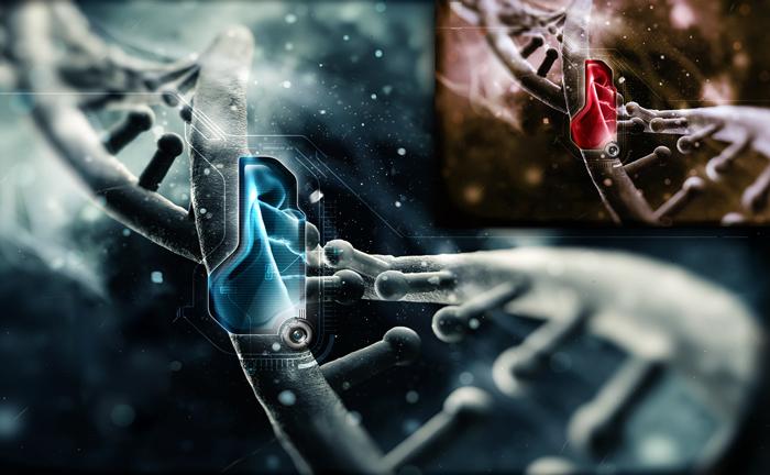 3d render ng balangkas ng DNA, basal na likuran