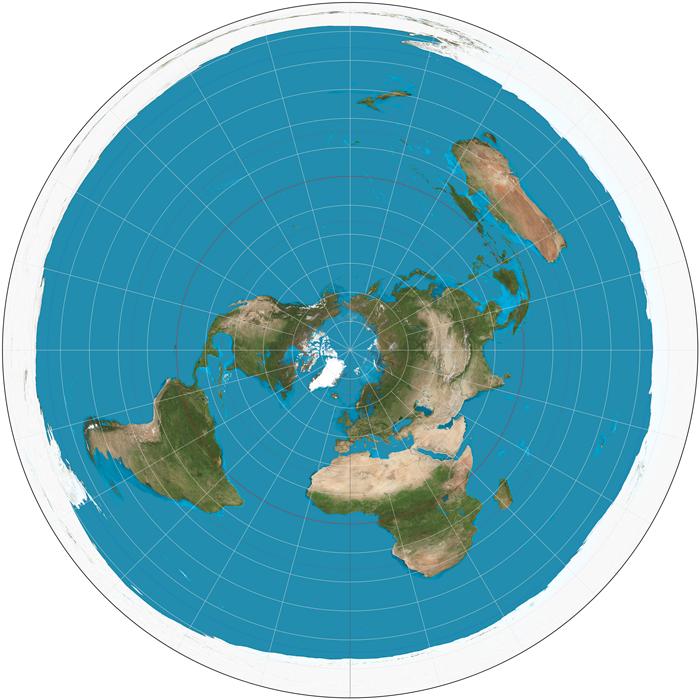 carte Terre Plate (azimutale polaire équidistante)