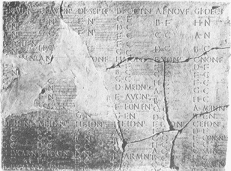 돌 조각에 새겨진 줄리안 달력, 아우구스투스 시대로부터 (63 B.C. – A.D. 14) 티베리우스 (42 B.C. – A.D. 37) 까지의 날짜를 나타내고 있다.