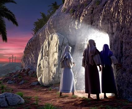 부활: 야후슈아의 빈 무덤 앞에 있는 마리아, 베드로, 요한