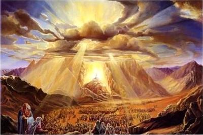Moses und die Kinder Israels am Berg Sinai