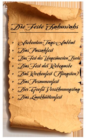 Liste der Feste aus Levitikus 23