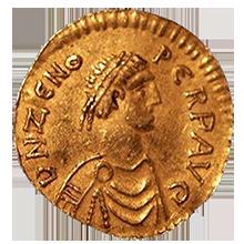 Un trémissis (monnaie d'or) de l'empereur Zénon (474-491)